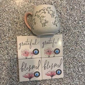 Unicorn mug and blessed coasters